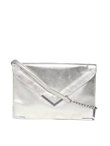 ToniQ Silver-Toned Shimmer Envelope Clutch with Sling Strap ToniQ Clutches at myntra