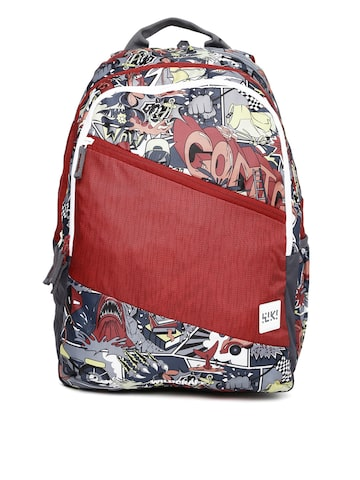 Wildcraft Unisex Red & Grey Wiki 2 Streets 2 Printed Backpack at myntra