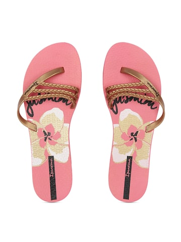 iPanema Women Gold-Toned & Pink Floral Print Flip-Flops at myntra