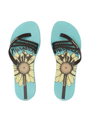 iPanema Women Brown & Blue Floral Print Flip-Flops at myntra