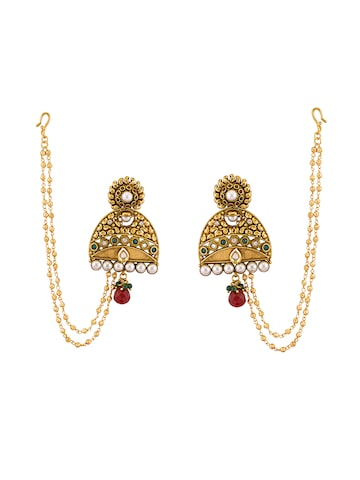 Sia Art Jewellery Gold-Plated Earrings with Chain at myntra