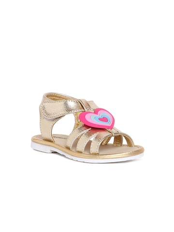 Kittens Girls Gold-Toned Sandals at myntra