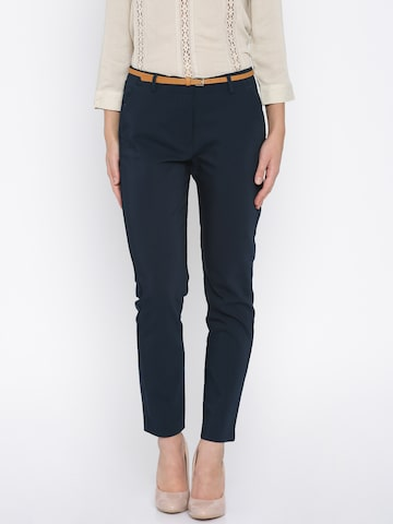 Vero Moda Women Navy Cigarette Trousers at myntra