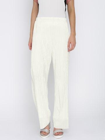 Vero Moda Women White Parallel Trousers at myntra