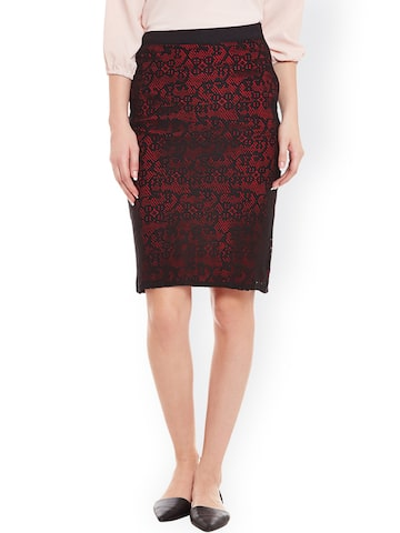 Ruhaans Black & Maroon Pencil Skirt at myntra