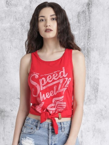 Roadster Women Red Printed Round Neck T-shirt at myntra
