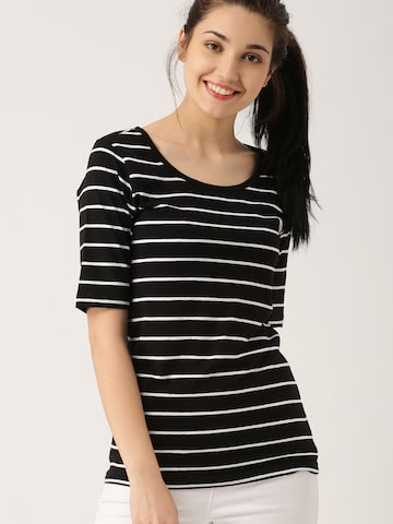DressBerry Women Black & White Striped Round Neck T-shirt at myntra
