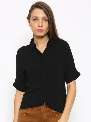 Deal Jeans Women Black Regular Fit Solid Casual Shirt at myntra