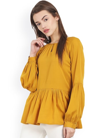 Magnetic Designs Mustard Yellow Peplum Top at myntra