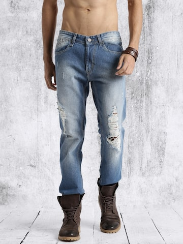 Roadster Men Blue Slim Fit Mid Rise Highly Distressed Jeans at myntra