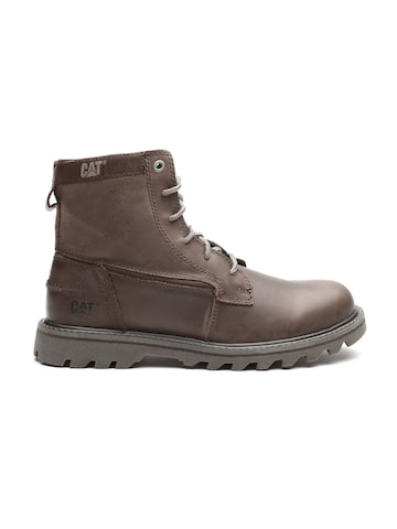 CAT Men Brown High-Top Leather Flat Boots at myntra