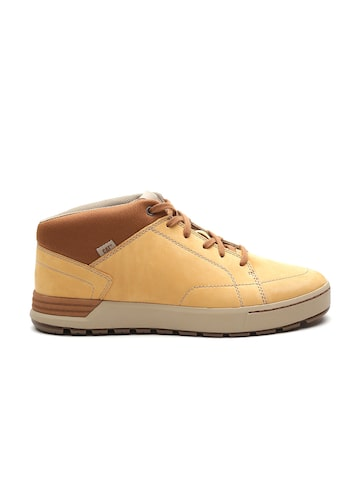 CAT Men Beige Solid Leather Sneakers at myntra