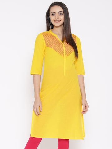 AURELIA Women Yellow Yoke Design Straight Kurta at myntra