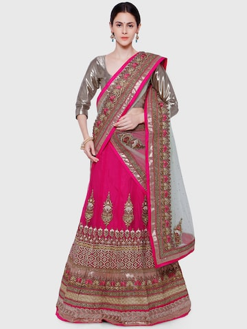 Hypnotex Pink & Blue Embroidered Net Semi-Stitched Lehenga Choli with Dupatta at myntra