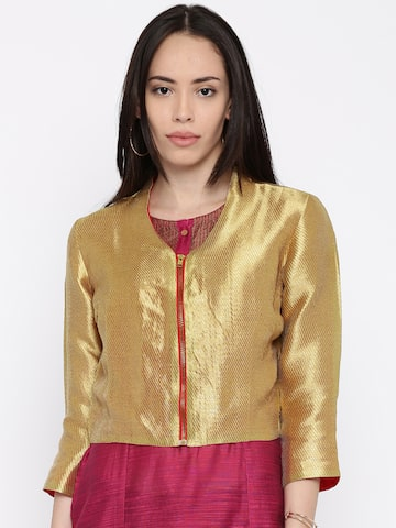 Global Desi Gold-Toned Self-Design Jacket at myntra