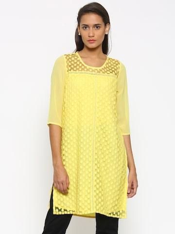 Fusion Beats Women Yellow Embroidered Straight Kurta at myntra