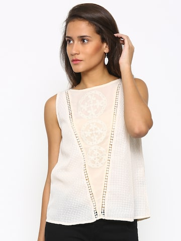 Fusion Beats Cream Embroidered Top at myntra