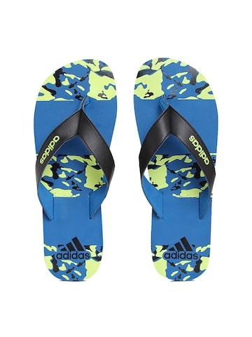 Adidas Men Black & Blue Laken M S Printed Flip-Flops at myntra