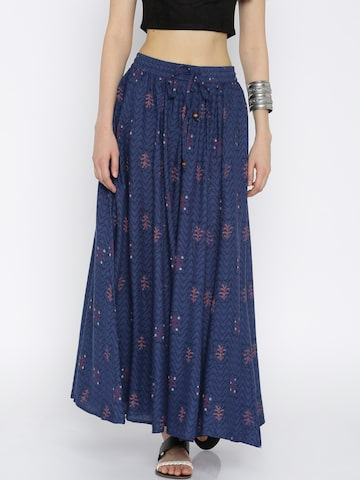 AKKRITI BY PANTALOONS Blue Printed Maxi Skirt at myntra