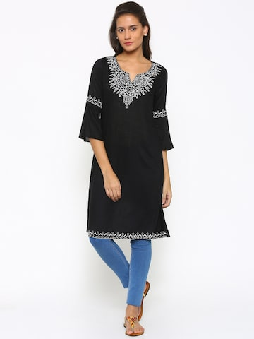 Fusion Beats Women Black A-Line Kurta at myntra