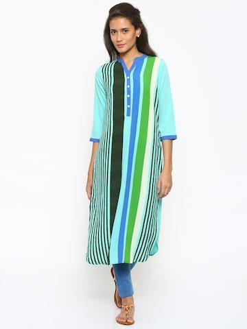 Fusion Beats Women Green Striped Straight Kurta at myntra