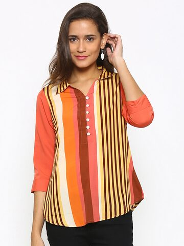 Fusion Beats Women Multicoloured Striped Shirt Style Top at myntra