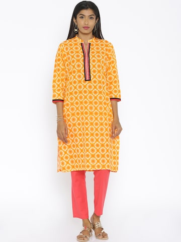 Soch Women Orange Printed Kurta at myntra