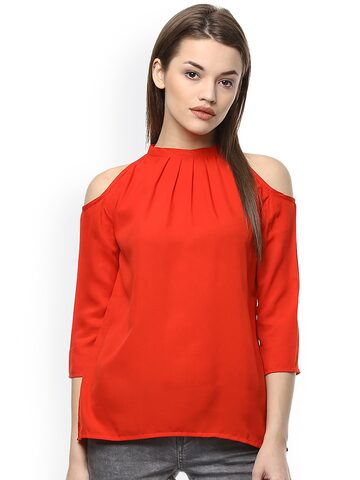 Hapuka Red Cold Shoulder Top at myntra