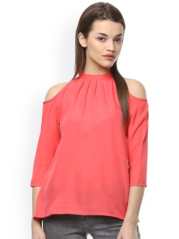 Hapuka Pink Cold Shoulder Top at myntra