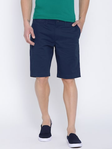 United Colors of Benetton Men Navy Solid Slim Chino Shorts at myntra