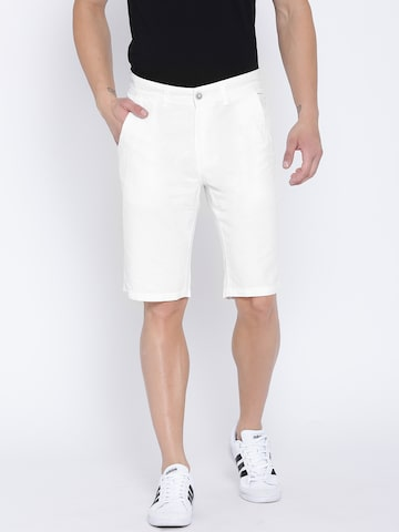 United Colors of Benetton Men White Solid Slim Fit Shorts at myntra