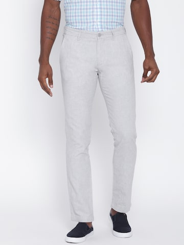 United Colors of Benetton Men Grey Slim Fit Casual Trousers at myntra