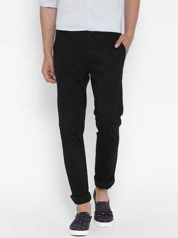 United Colors of Benetton Men Black Slim Fit Casual Trousers at myntra