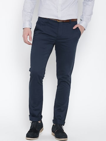United Colors of Benetton Men Navy Slim Chino Trousers at myntra