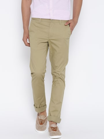 United Colors of Benetton Men Khaki Slim Chino Trousers at myntra