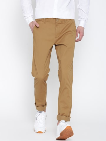 United Colors of Benetton Men Khaki Slim Fit Casual Trousers at myntra