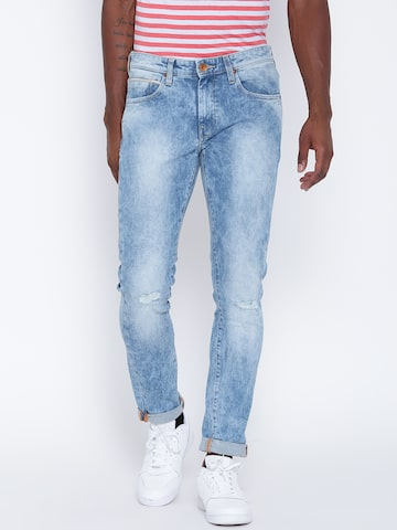 United Colors of Benetton Men Blue Skinny Fit Mid-Rise Mildly Distressed Jeans at myntra
