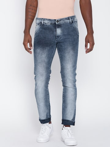 United Colors of Benetton Men Blue Skinny Mid-Rise Clean Look Jeans at myntra