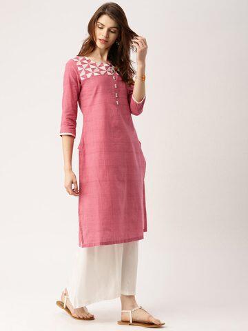 IMARA by Shraddha Kapoor Women Pink Yoke Design Straight Kurta at myntra
