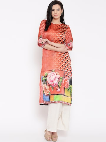 Jashn Women Orange Printed Straight Kurta at myntra