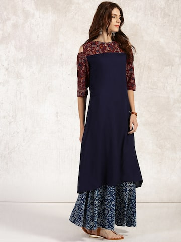 Anouk Women Navy Yoke Design A-Line Kurta at myntra