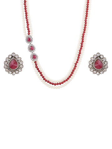 Sia Art Jewellery Maroon & Silver-Toned Jewellery Set at myntra