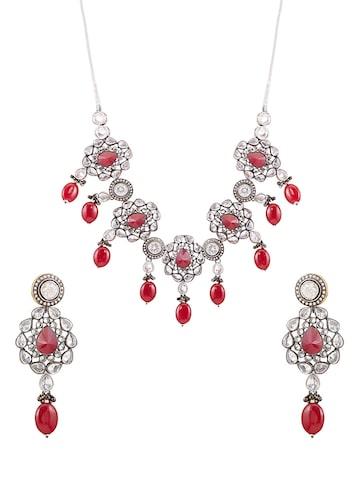 Sia Art Jewellery Silver-Toned & Maroon Jewellery Set at myntra