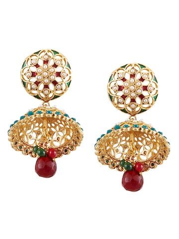 Sia Art Jewellery Gold-Plated Turquoise Blue Embellished Jhumkas at myntra