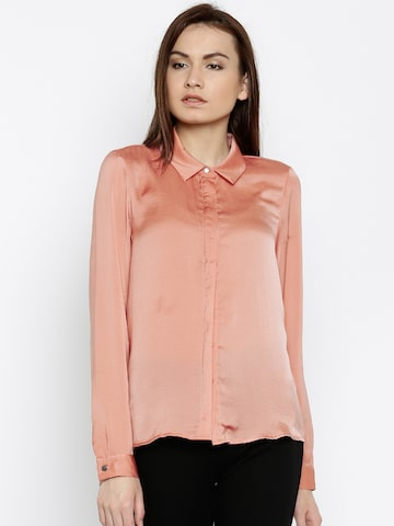 Vero Moda Women Peach Regular Fit Solid Casual Shirt at myntra