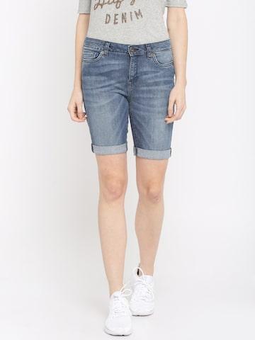 Vero Moda Women Blue Faded Slim Fit Denim Shorts at myntra