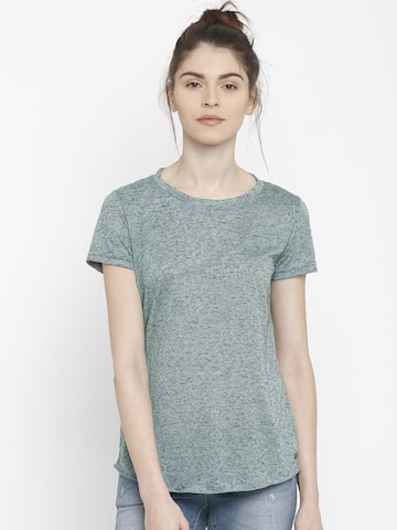 Vero Moda Women Blue Self-Design Regular T-shirt at myntra