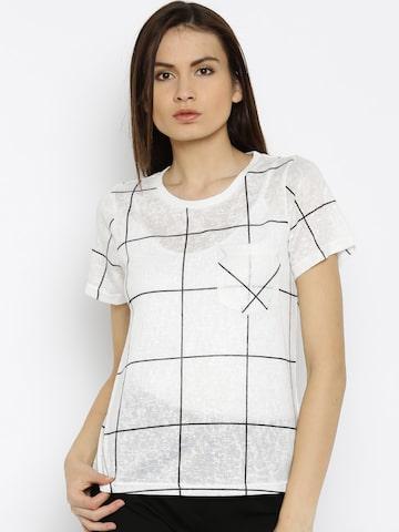 Vero Moda White & Black Checked T-Shirt at myntra
