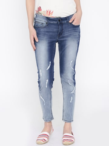 Pepe Jeans Women Blue Skinny Fit Low Rise Mildly Distressed Jeans at myntra
