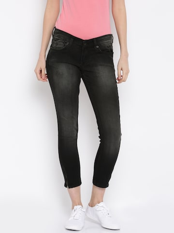 Pepe Jeans Black Skinny Fit Low-Rise Clean Look Jeans at myntra